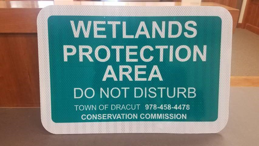 Image of a Dracut Wetlands Protection Area Sign